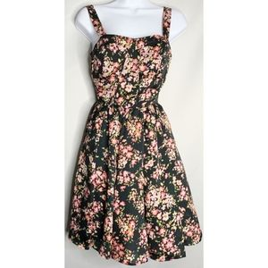 Lc Lauren Conrad black floral fitted 8 dress